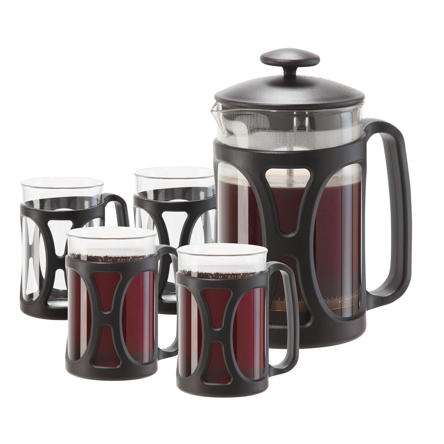 8-cup French press coffee maker Five-piece set includes: Four 6.75 fl.oz. glass cups with handles Heat-resistant borosilicate glass Made in China Overstock. Brew up eight delicious cups of coffee -- or your favorite loose-leaf tea -- with this OGGI French press coffee set, complete with four heat-resistant borosilicate glass mugs for sharing with lucky guests. Press has built-in lid filter to reduce sediment; can also be used to brew loose-leaf tea