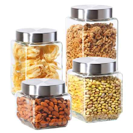 OGGI Glass Canister Set - 4-Piece in Stainless Steel - Overstock