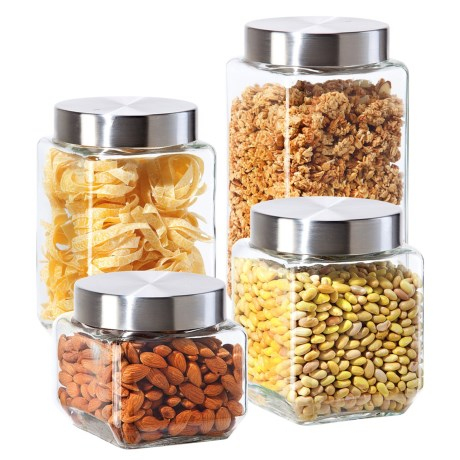 OGGI Glass Canister Set - 4-Piece in Stainless Steel
