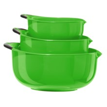 OGGI Non-Skid Mixing Bowls - BPA-Free, 3-Piece in Green/Black Handles - Closeouts