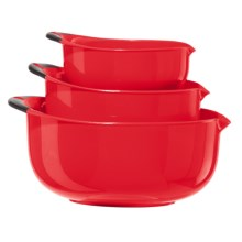 OGGI Non-Skid Mixing Bowls - BPA-Free, 3-Piece in Red/Black Handles - Closeouts