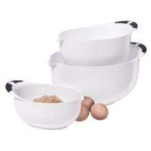 OGGI Non-Skid Mixing Bowls - BPA-Free, 3-Piece in White/Black Handles - Closeouts