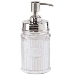 OGGI Round Stainless Steel and Glass Lotion/Soap Dispenser in Clear