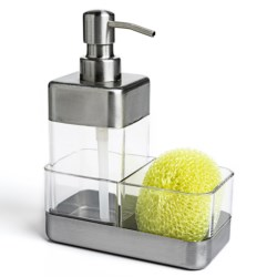 OGGI Soap Dispenser and Scrubby Holder in Stainless/Acrylic