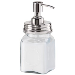 OGGI Square Lotion/Soap Dispenser - Glass, 14 fl.oz. in Clear