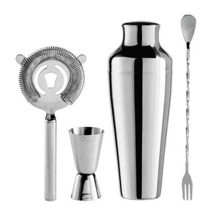 OGGI Stainless Steel Cocktail Shaker and Bar Tool Set - 4-Piece in Stainless Steel - Closeouts