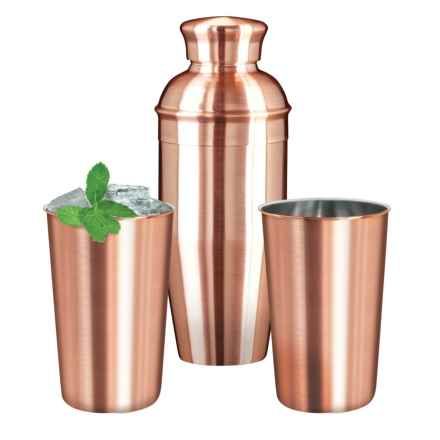 OGGI Stainless Steel Cocktail Shaker and Tumblers - 3-Piece Set, Copper Plated in Stainless Steel - Closeouts