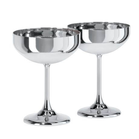 OGGI Stainless Steel Coupe Cocktail Glasses - 10 fl.oz., 2-Pack in Stainless Steel