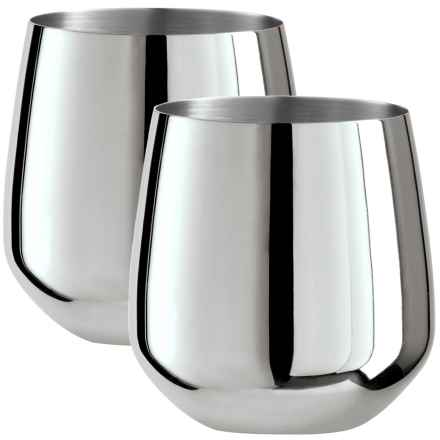 OGGI Stainless Steel Stemless Wine Glasses - Set of 2, 17 fl.oz. in Stainless Steel - Overstock