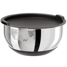 OGGI Strainer Bowl with Lid - 5 qt., Stainless Steel in Stainless Steel - Closeouts