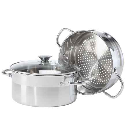 OGGI Vegetable Steamer Set - 5 qt., Stainless Steel in Stainless Steel - Overstock