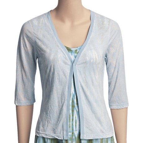 Ojai Burnout Cardigan Shirt - 3/4 Sleeve (For Women) in Blue Surf