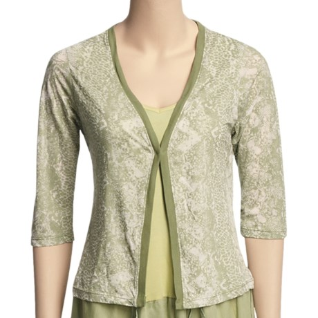 Ojai Burnout Cardigan Shirt - 3/4 Sleeve (For Women) in Sage
