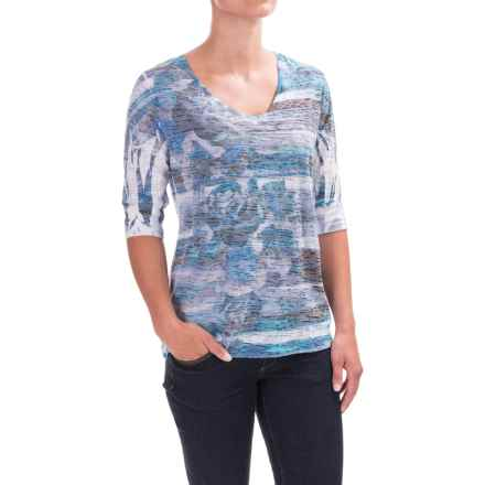 Ojai Burnout Printed Shirt - Relaxed Fit, Elbow Sleeve (For Women) in Chambray - Closeouts