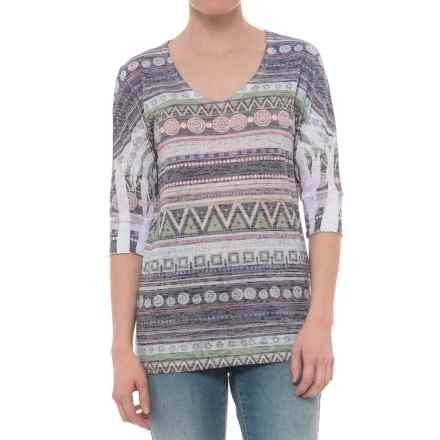 Ojai Burnout Printed Shirt - Relaxed Fit, Elbow Sleeve (For Women) in Charcoal Ethnic Stripe - Closeouts