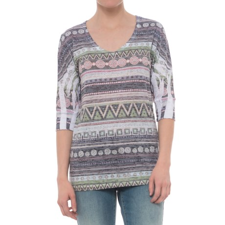 Ojai Burnout Printed Shirt - Relaxed Fit, Elbow Sleeve (For Women) in Charcoal Ethnic Stripe