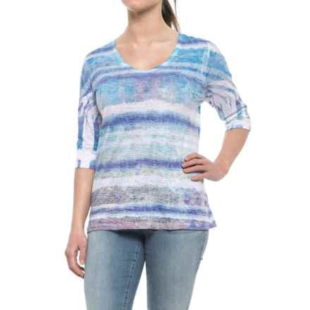 Ojai Burnout Printed Shirt - Relaxed Fit, Elbow Sleeve (For Women) in Cobalt Grunge Stripe - Closeouts