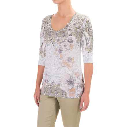 Ojai Burnout Printed Shirt - Relaxed Fit, Elbow Sleeve (For Women) in Daisy - Closeouts