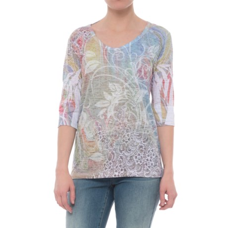 Ojai Burnout Printed Shirt - Relaxed Fit, Elbow Sleeve (For Women) in Groovy Celery