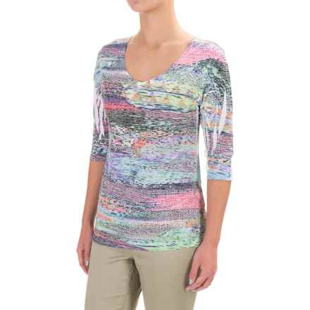 Ojai Burnout Printed Shirt - Relaxed Fit, Elbow Sleeve (For Women) in Turquoise - Closeouts