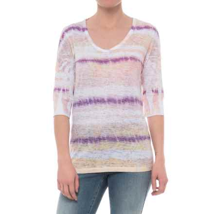 Ojai Burnout Printed Shirt - Relaxed Fit, Elbow Sleeve (For Women) in Violet Grunge Stripe - Closeouts