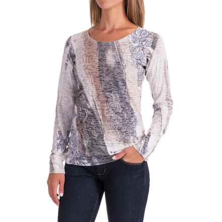 Ojai Burnout Shirt - Long Sleeve (For Women) in Deep Navy Waves - Closeouts