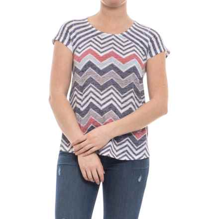 Ojai Burnout Shirt - Short Sleeve (For Women) in Black Chevron - Closeouts