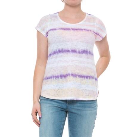 Ojai Burnout Shirt - Short Sleeve (For Women) in Violet Grunge Stripe