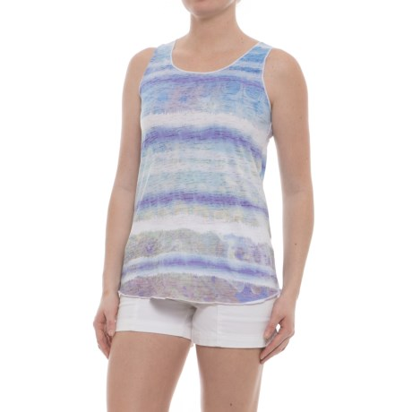 Ojai Burnout Summertime Tank Top (For Women) in Cobalt Grunge Stripe