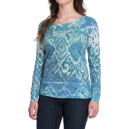 Ojai Burnout T-Shirt - Crew Neck, Long Sleeve (For Women) in Intense Blue - Closeouts