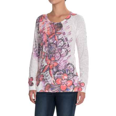 Ojai Burnout T-Shirt - Crew Neck, Long Sleeve (For Women) in Raspberry Sorbet Floral - Closeouts