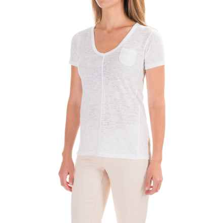 Ojai Burnout V-Neck Shirt - Short Sleeve (For Women) in White - Closeouts