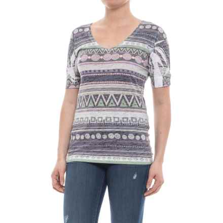 Ojai Burnout V-Neck T-Shirt - Short Sleeve (For Women) in Charcoal Ethnic Stripe - Closeouts
