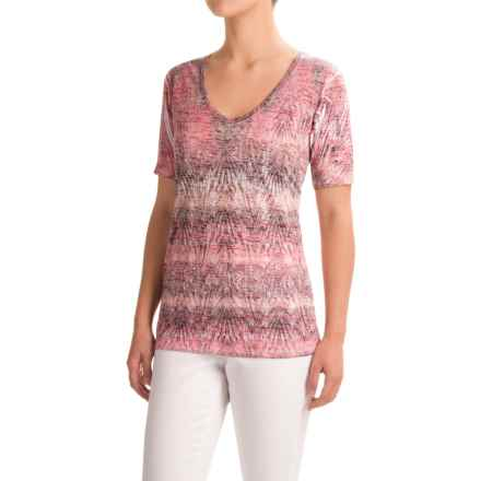 Ojai Burnout V-Neck T-Shirt - Short Sleeve (For Women) in Coral - Closeouts