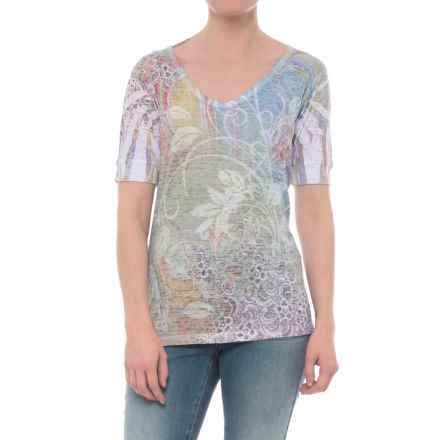 Ojai Burnout V-Neck T-Shirt - Short Sleeve (For Women) in Groovy Celery - Closeouts