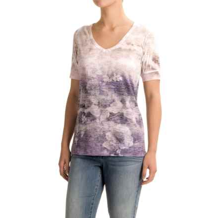 Ojai Burnout V-Neck T-Shirt - Short Sleeve (For Women) in Iris - Closeouts