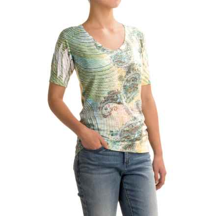Ojai Burnout V-Neck T-Shirt - Short Sleeve (For Women) in Moroccan Green - Closeouts