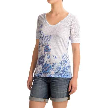 Ojai Burnout V-Neck T-Shirt - Short Sleeve (For Women) in Sail Blue Floral - Closeouts