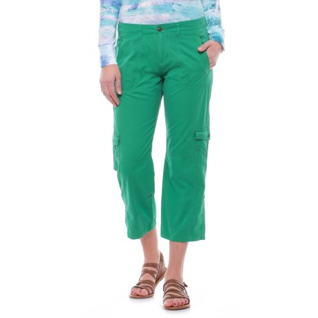 Ojai Cargo Road Trip Roll-Up Pants (For Women) in Moroccan Green