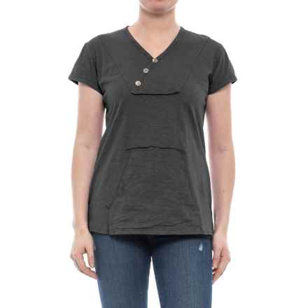 Ojai Crisscross Kangaroo Shirt - Short Sleeve (For Women) in Black - Closeouts