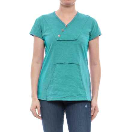 Ojai Crisscross Kangaroo Shirt - Short Sleeve (For Women) in Teal Blue - Closeouts