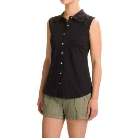 Ojai Lace Yoke Button-Down Shirt - Sleeveless (For Women) in Black - Closeouts