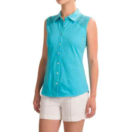 Ojai Lace Yoke Button-Down Shirt - Sleeveless (For Women) in Casitas Blue - Closeouts