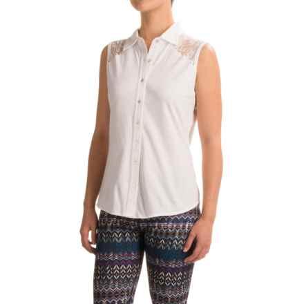 Ojai Lace Yoke Button-Down Shirt - Sleeveless (For Women) in White - Closeouts