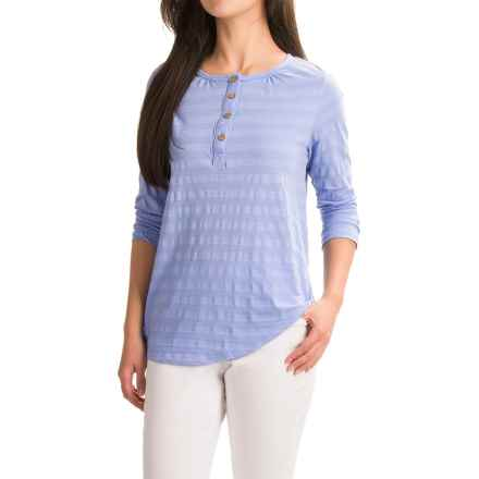 Ojai Retro Striped Henley Shirt - Long Sleeve (For Women) in Chambray - Closeouts
