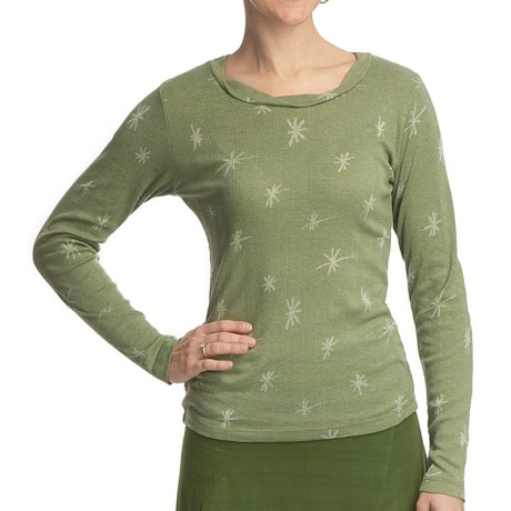 Ojai Starry Night Burnout Shirt - Long Sleeve (For Women) in Pesto