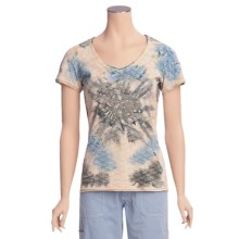 Ojai Tie-Dye V-Neck Shirt - Short Sleeve (For Women) in Taupe - Closeouts