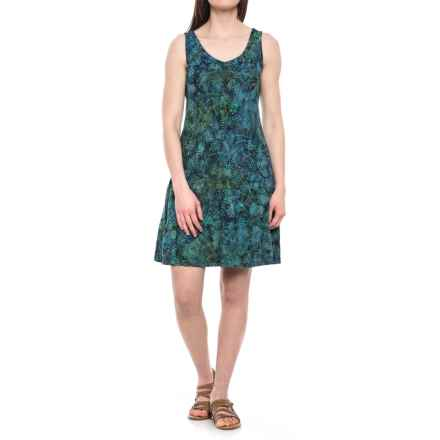 Ojai Weekend Batik Dress - Sleeveless (For Women) in Blue Topaz Wildflower - Closeouts