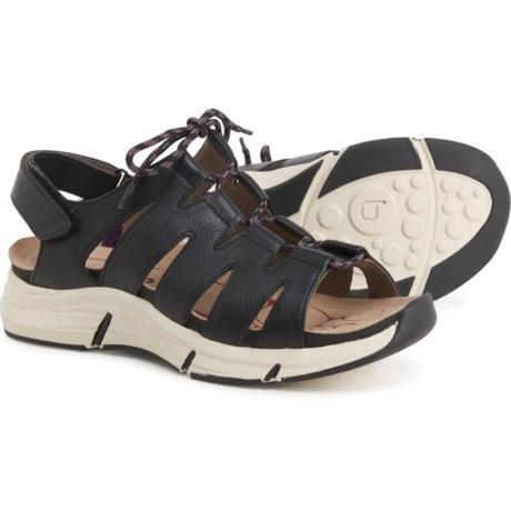 Olanda Wedge Sandals - Leather (For Women) - BLACK (6 ) -  Bionica