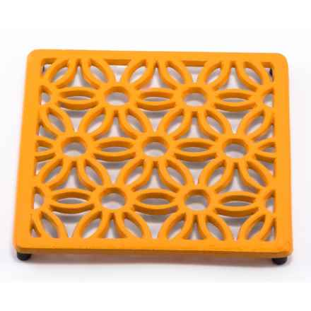 Old Dutch International Cast Iron Square Flora Trivet in Butterscotch - Closeouts